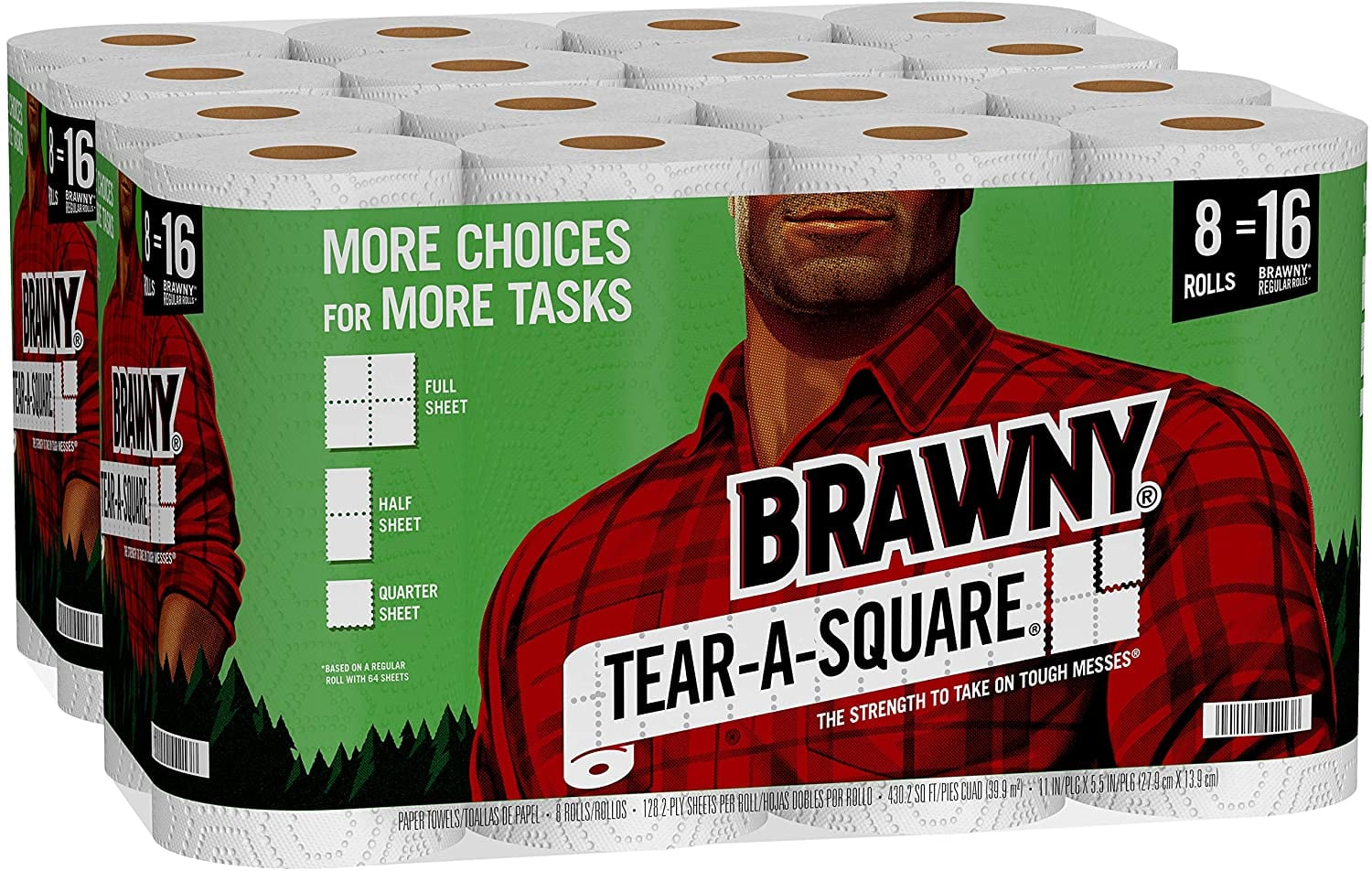 Ymmv Amazon.com: Brawny Tear-A-Square Paper Towels, 16 Double Rolls = 32 Regular Rolls, 3 Sheet Size Options, Quarter Size Sheets: Health & Personal Care $20.84