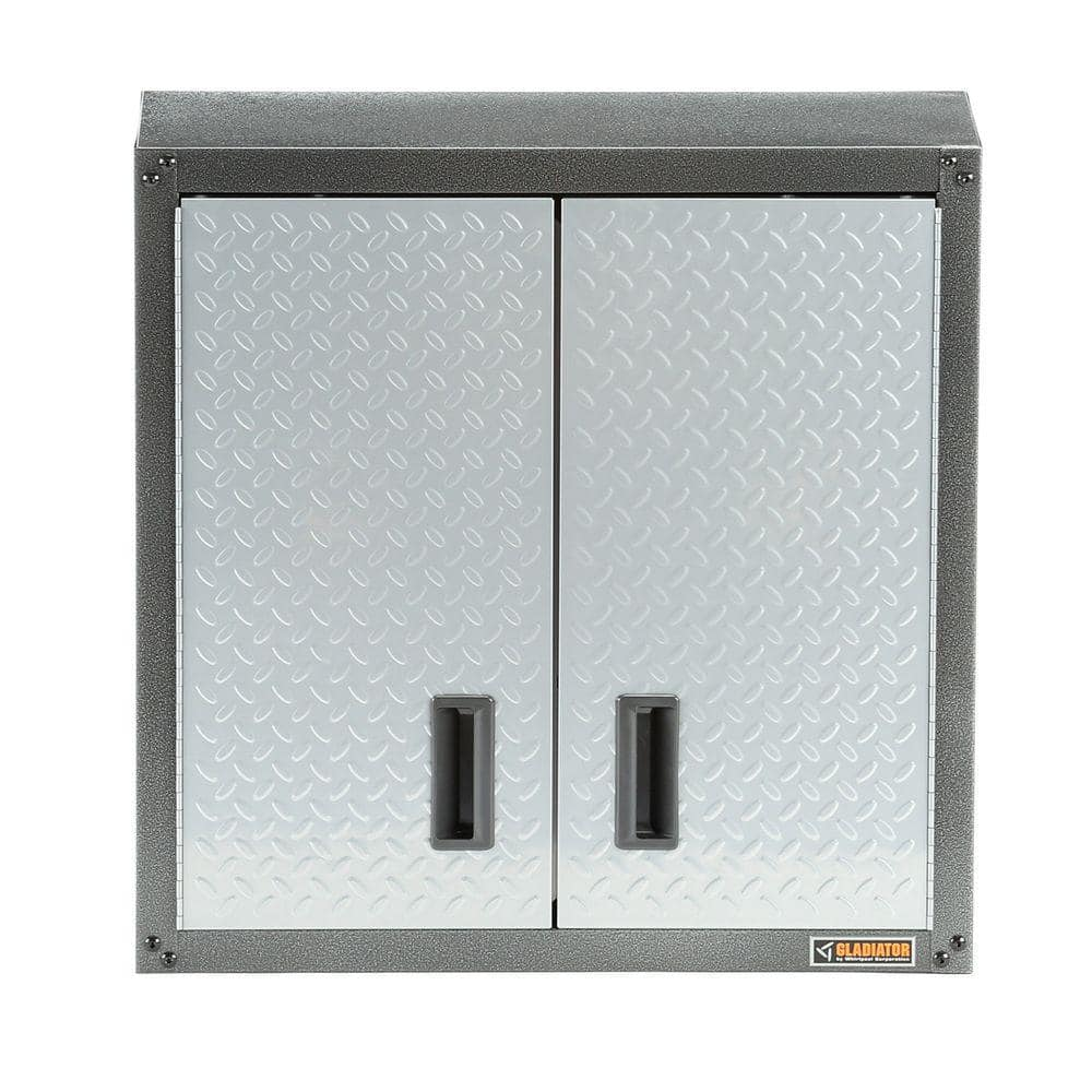 $101 gladiator Ready to Assemble 28 in. H x 28 in. W x 12 in. D Steel Garage Wall Cabinet in Silver Tread