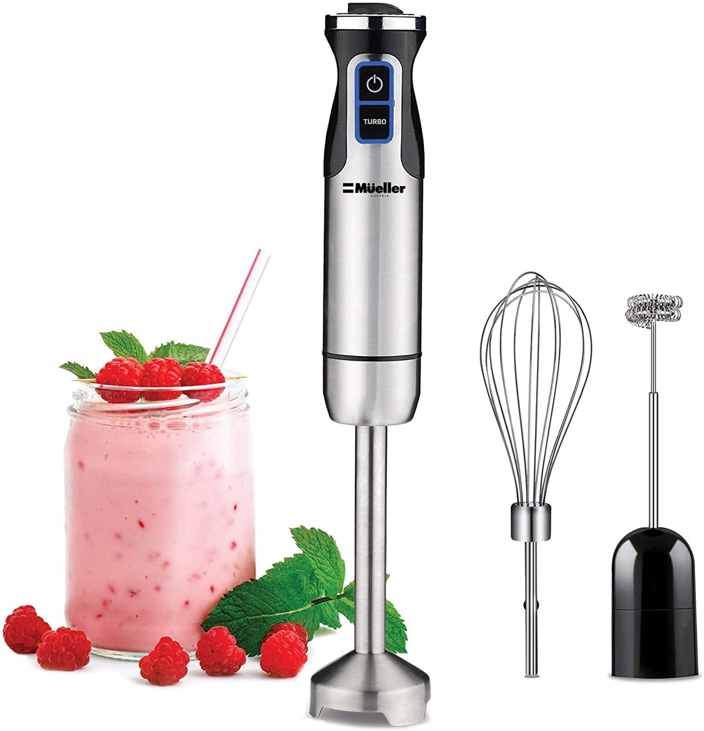 Amazon.com: Mueller Austria Ultra-Stick 500 Watt 9-Speed Immersion Multi-Purpose Hand Blender Heavy Duty Copper Motor Brushed 304 Stainless Steel With Whisk, Milk Frother $29.97
