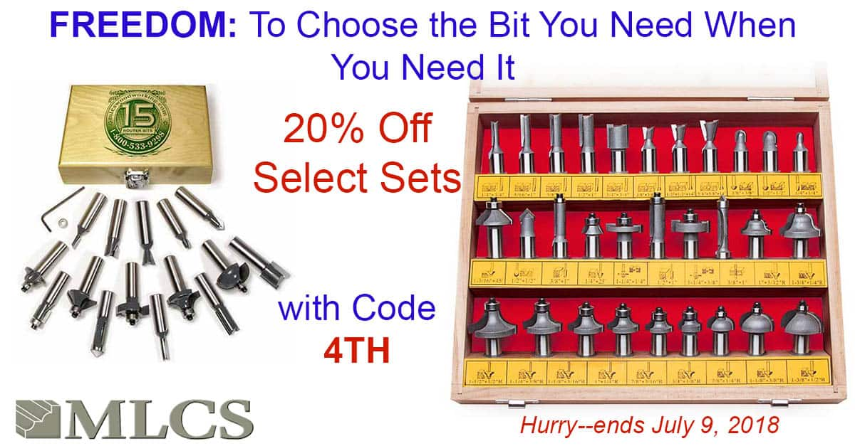 MLCS Router Bit Sets - 20% off - 30 piece $80 - 15 piece $35