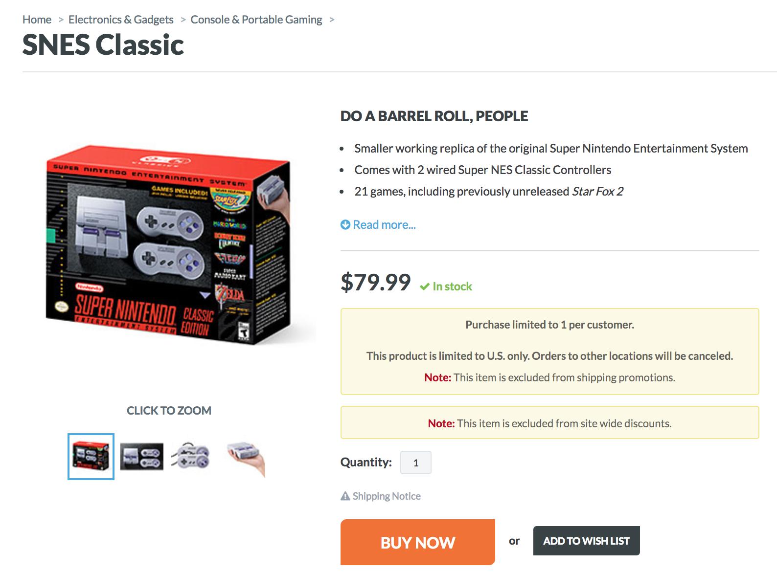 ThinkGeek SNES Mini Classic $79.99 - Now OOS
