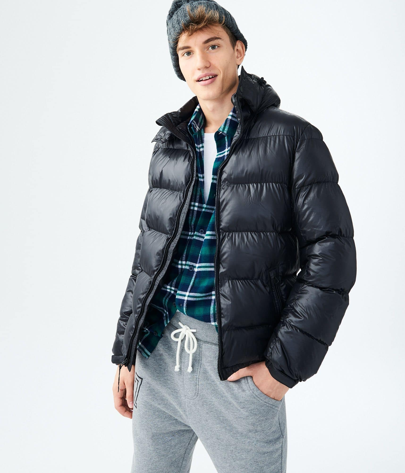 Solid hooded puffer jacket $21