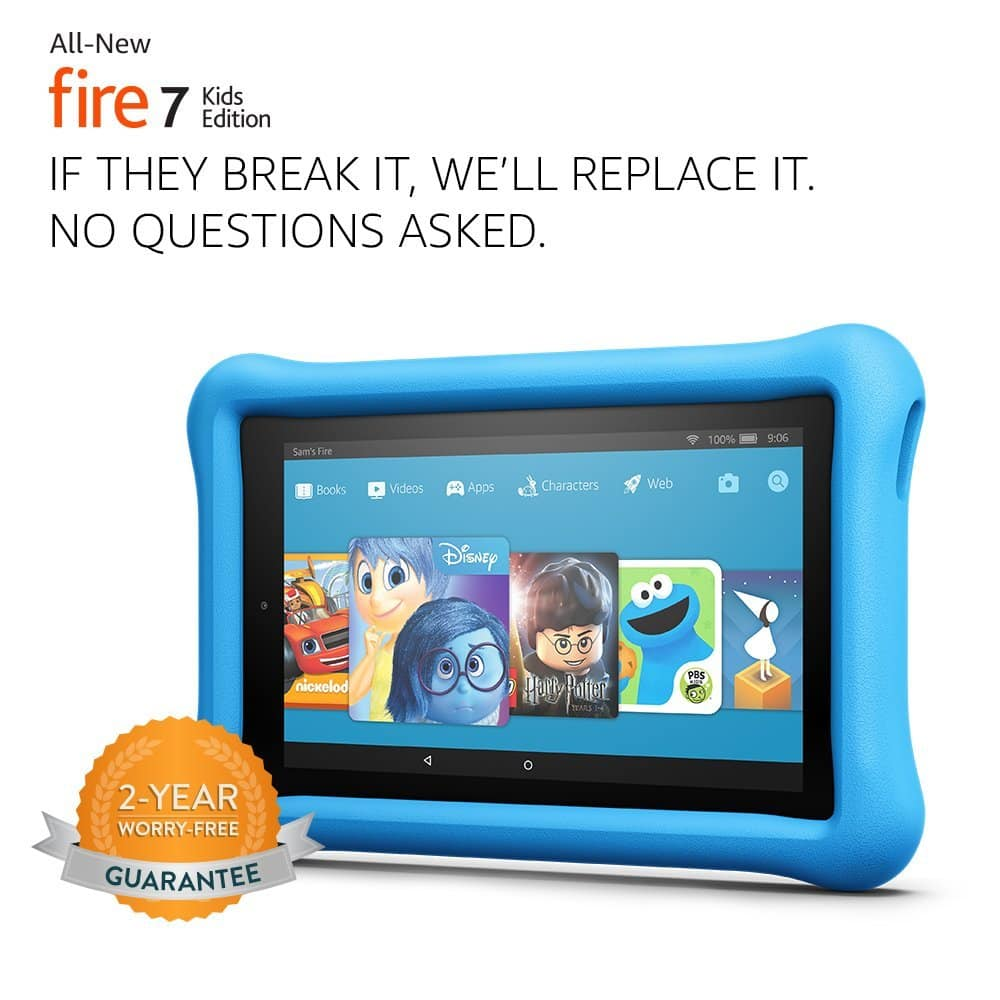 """Fire 7 Kids Edition Tablet, 7"""" Display, 16 GB, Blue Kid-Proof Case [Blue, Base] $79.99"""