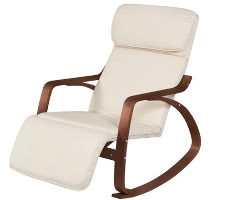 Birch Bentwood Rocking Chair w/ Adjustable Leg Rest - White/Espresso $84.99 + fs