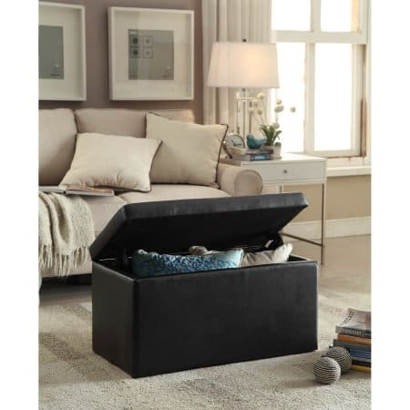 Luxury Better Homes and Gardens Faux Leather Hinged Storage Ottoman Black