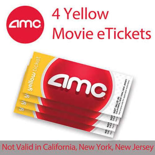 AMC Yellow Movie eTickets, 4-pack $29.99 Black Movie eTickets $36.99