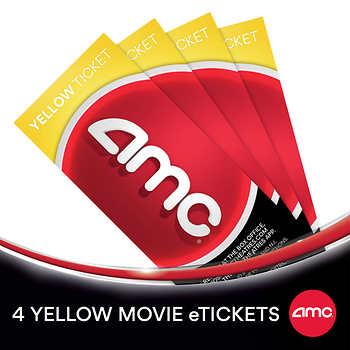 AMC Yellow Movie eTickets, 4-pack $30.99 Black Movie eTickets $36.99