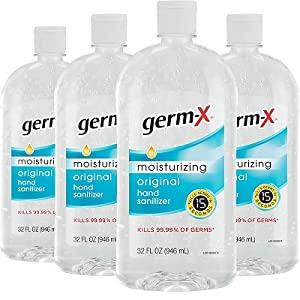 Germ-X Hand Sanitizer, Original, 32 Fluid Ounce (Pack of 4), 128 Fl Ounce - Amazon Arrives June 27 $17.99