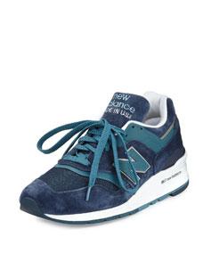 Men's 997 Suede & Mesh Sneaker, Navy/Castaway Blue $94