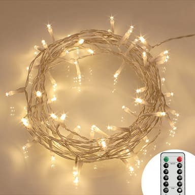 [Remote and Timer] 29.5ft 80 Copper Wire Fairy Lights  (8 Modes, Warm White) $2.99 (70% off) w/Code + FSSS w/Prime