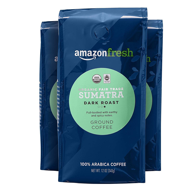 50% Off - First S&S Order - AmazonFresh Organic Fair Trade Ground Coffee - 12oz / 3 Pack @ $10.93 - YMMV