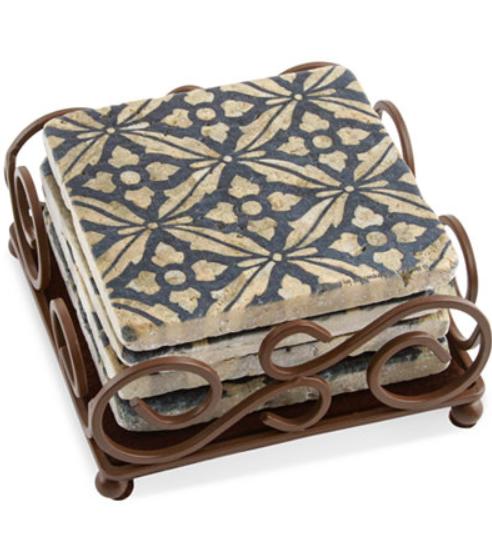 Thirstystone Set of 4 Travertine Mosaic Coasters with Scroll Holder $15