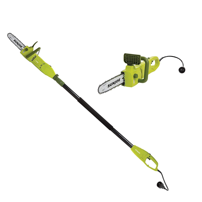 Sun Joe SWJ807E 10 inch 8.0 Amp Electric Convertible Pole Chain Saw, Green -- $51.99 + tax, Prime FS (delivery 9/4)