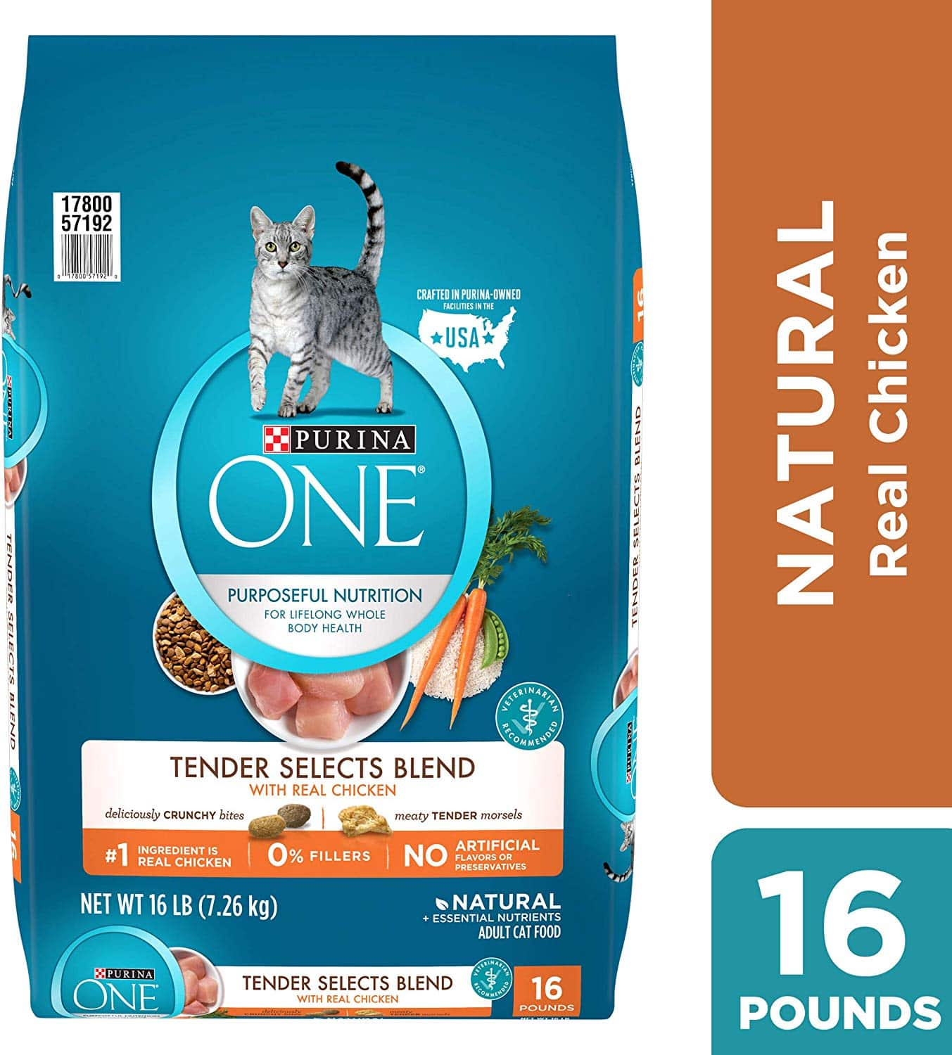 16lb Bag of Purina ONE Tender Selects Blend Adult Dry Cat Food $15.46 with Subscribe & Save + Free Shipping