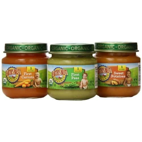 Earth's Best Organic Stage 1 Baby Food, My First Veggies Variety Pack (Carrots, Peas, and Sweet Potatoes), 2.5 Ounce Jars, Pack of 12 $5 Add on item@amazon