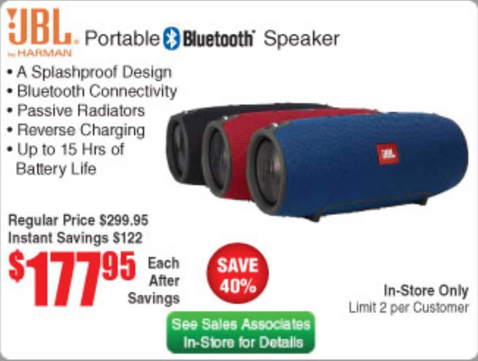 JBL Xtreme NEW in-store Fry's $177.95 NOT sure if you need promo code ( see photo)