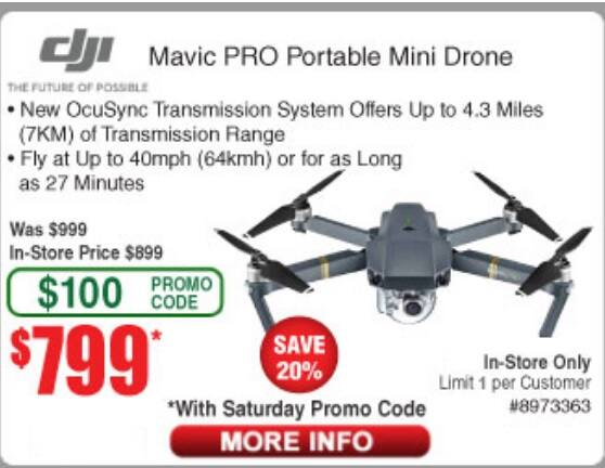 DJI Mavic PRO Portable Mini Drone on sale for $799 at Frys - In store only (after promo code/ In store only)
