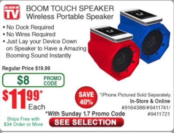 As Seen On TV BoomTouch Wireless Portable Speaker $11.99 Frys w/promo code In-store/online