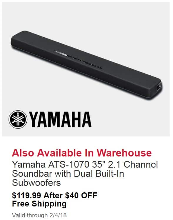 yamaha ats 1070 35 2 1 channel soundbar with dual built