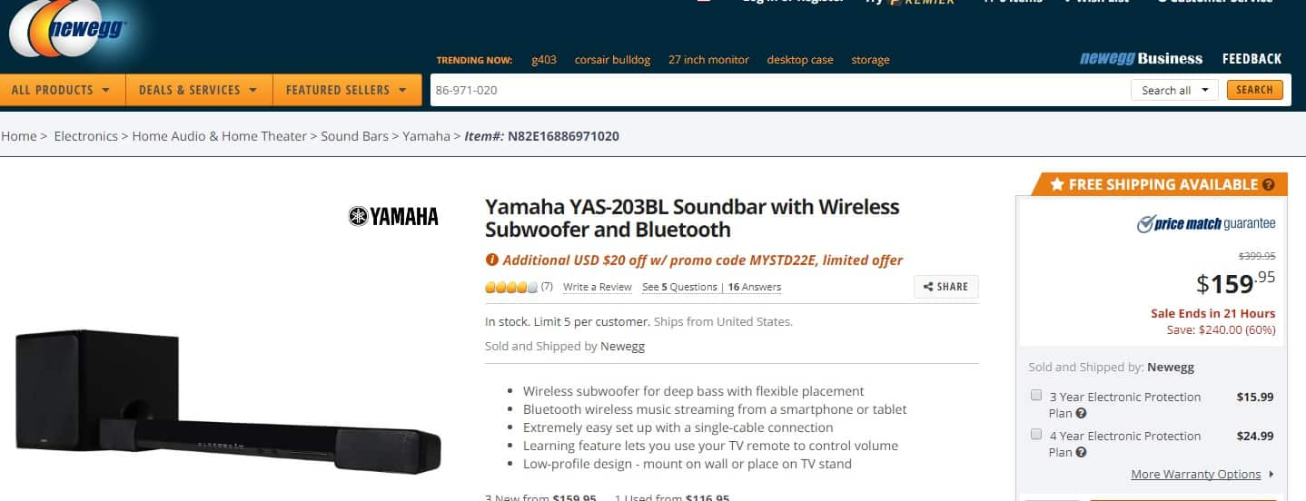 Yamaha YAS-203BL Soundbar - Newegg  Deal of the day ; $159.95 - $20 Promo code! =$139.95