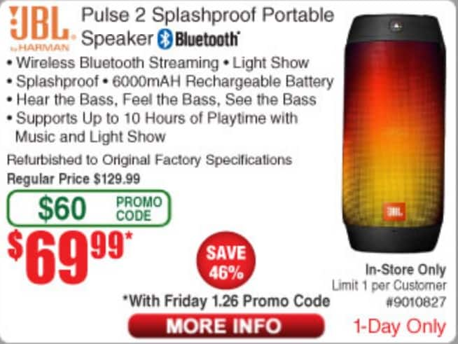 JBL Pulse 2 Splashproof Portable Bluetooth Speaker - Black - Refurbished -Fry's (1 day only) $129.00 - $60 promo code = $69.99