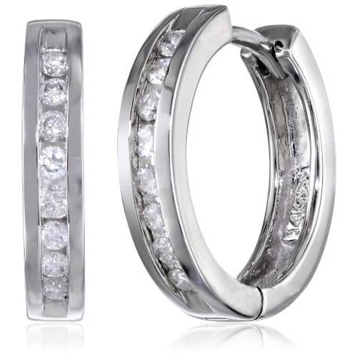 10k Gold Channel-Set Diamond Hoop Earrings (1/3 cttw, H-I Color, I2-I3 Clarity) $229.99 & FREE Shipping