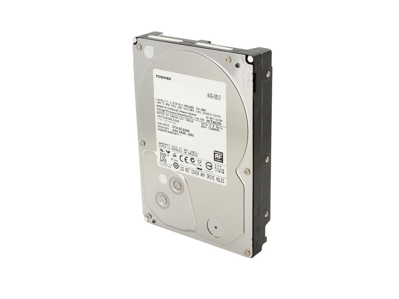 "3 TB Toshiba 3.5"" SATA III 7200 RPM Internal Bare Hard Drive (DT01ACA300) for $67.99 AC + Free Ship @ Newegg"