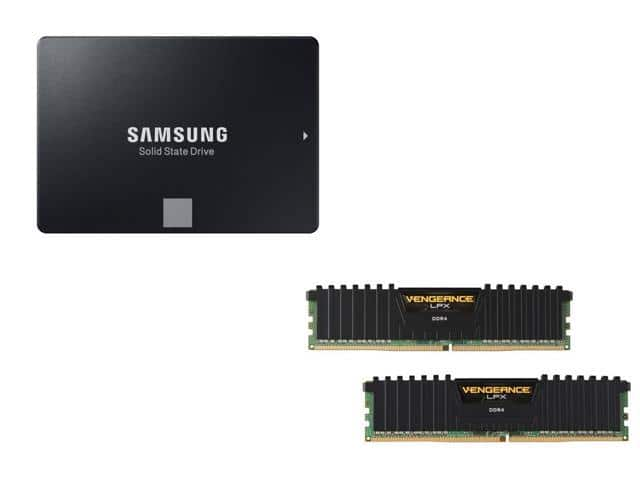 "16 GB (2 x 8 GB) Corsair Vengeance LPX 288-Pin DDR4 3000 (PC4 24000) Desktop Memory Kit + 500 GB Samsung 860 EVO 2.5"" SATA III Internal SSD for $259.99 + Free Ship @ Newegg"