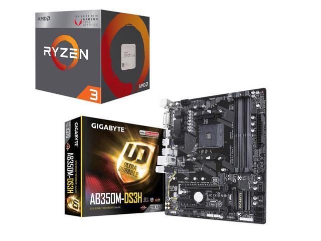 AMD Ryzen 3 2200G Processor + Gigabyte X370 AMD ATX Motherboard ...