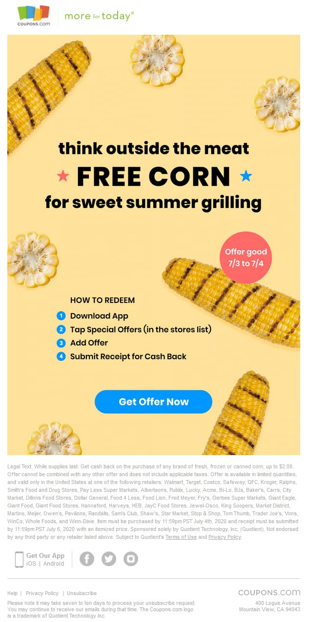 Coupons.com App - Free Fresh, Canned or Frozen Corn (up to $2 Value) at Select Retailers (Valid 07/03/20 and 07/04/20) - Must Submit by 07/06/20