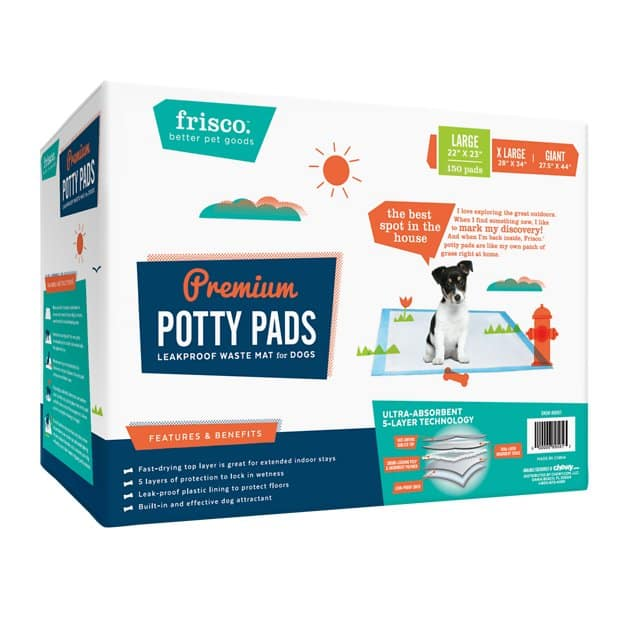"Frisco Training Potty Pads 22"" x 23"" 150 Count + American Journey Salmon Oil @ Chewy First Time Buyers ~$3.50"