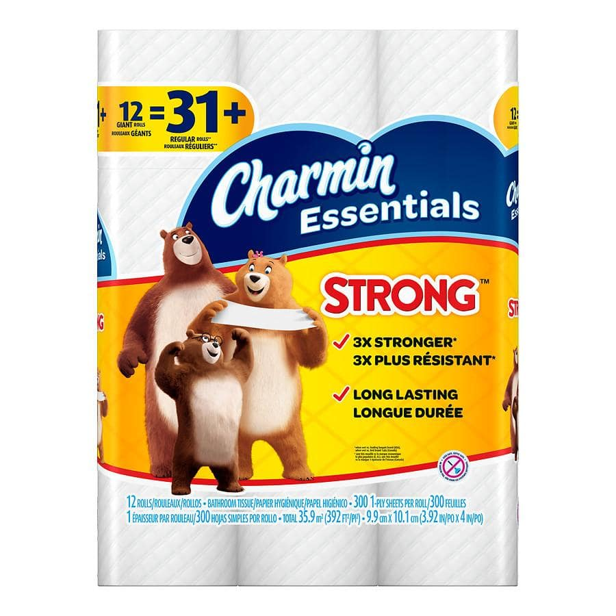 12 Count Charmin Essentials Giant Rolls Bath Tissue: Soft or Strong - 36 Rolls for 8.73 + tax Free Store Pickup $8.73