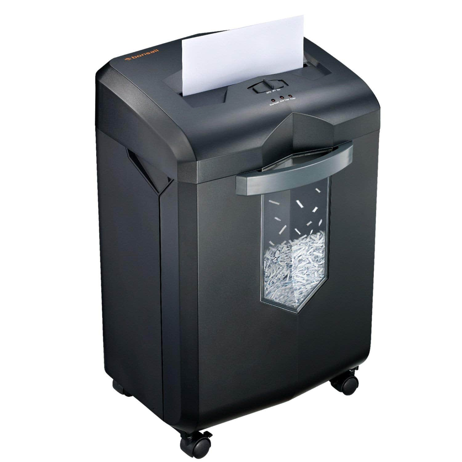 Bonsaii EverShred C149-C 18-Sheet Heavy Duty Cross-Cut Paper/CD/Credit Card Shredder with 6 Gallon Pullout Basket and 4 Casters, 60 Minutes Running Time, Black - $138.60 + FS