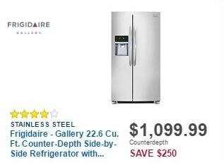 Best Buy Weekly Ad: Frigidaire Gallery 22.6 cu. ft. Counter-Depth Side-by-Side Refrigerator for $1,099.99