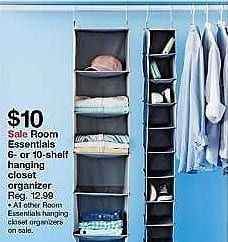 Target Weekly Ad: 6-Shelf Hanging Closet Organizer Gray - Room Essentials for $9.99