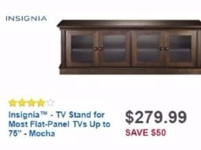 """Best Buy Weekly Ad: Insignia™ - TV Stand for Most Flat-Panel TVs Up to 75"""" - Mocha for $279.99"""