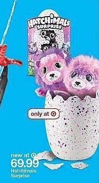 Target Weekly Ad: Hatchimals Surprise Peacat Hatching Egg w/Surprise Twin by Spin Master - Purple for $69.99