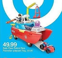 Target Weekly Ad: Paw Patrol Sea Patrol - Sea Patroller Transforming Vehicle with Lights and Sounds for $49.99