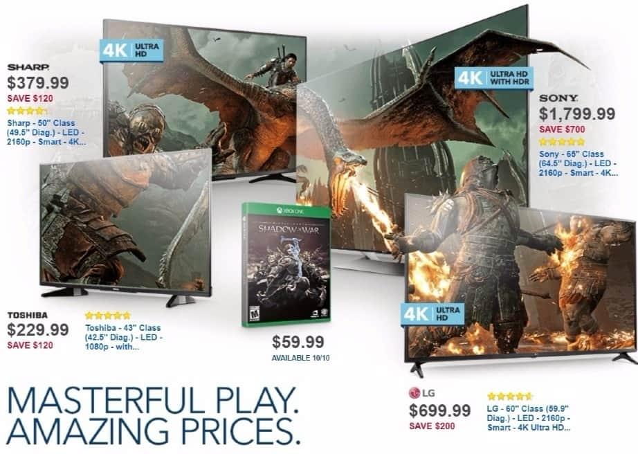 Best Buy Weekly Ad: Shadow of War - XB1/PS4 for $59.99