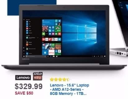 Best Buy Weekly Ad: Lenovo Laptop with AMD A12 Processor for $329.99
