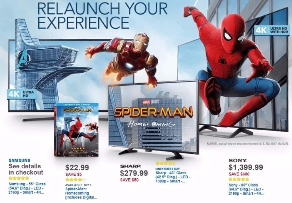 Best Buy Weekly Ad: Spider-Man: Homecoming [Includes Digital Copy] [Blu-ray/DVD] [2017] for $22.99