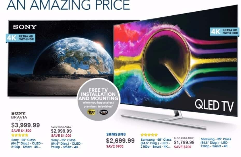"""Best Buy Weekly Ad: Samsung 65"""" Class LED 4K Ultra HD Smart TV with High Dynamic Range for $2,699.99"""