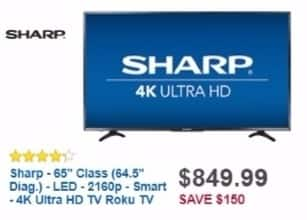 """Best Buy Weekly Ad: Sharp 65"""" Class LED 4K Ultra HD Smart TV (Roku TV) for $849.99"""