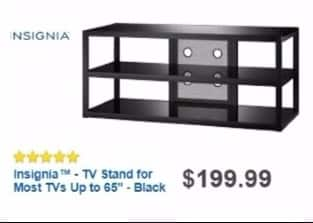 "Best Buy Weekly Ad: Insignia Metal and Glass TV Stand - TVs Up to 65"" for $159.99"