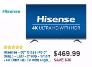 "Best Buy Weekly Ad: 50"" Class LED 4K Ultra HD Smart TV with High Dynamic Range for $399.99"