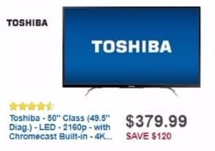 "Best Buy Weekly Ad: 50"" Class LED 4K Ultra HD Smart TV with Chromecast Built In for $379.99"