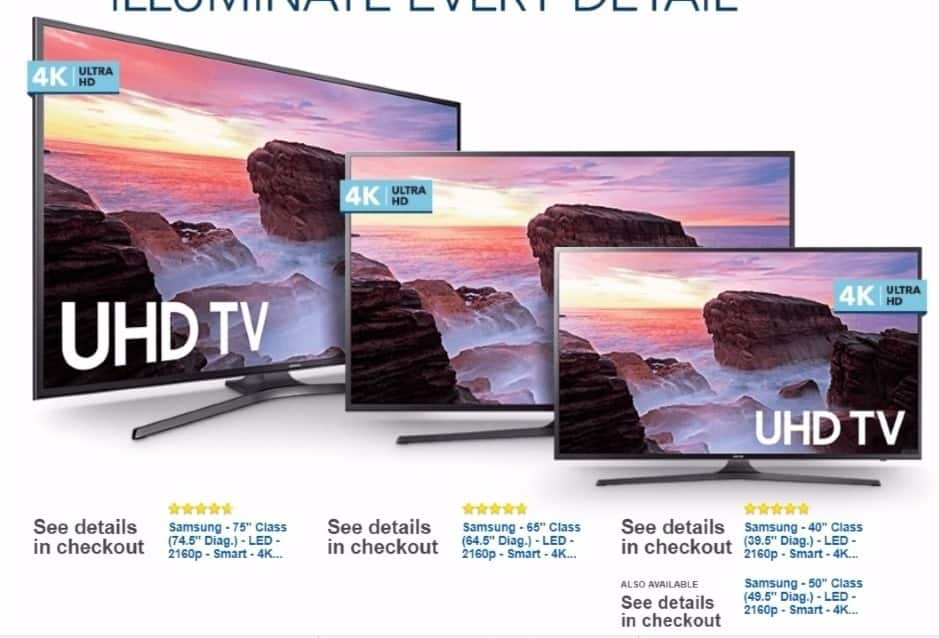 """Best Buy Weekly Ad: Samsung - 50"""" Class (49.5"""" Diag.) - LED - 2160p - Smart - 4K Ultra HD TV for $599.99"""