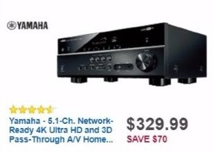Best Buy Weekly Ad: Yamaha 5.1-Ch. A/V Home Theater Receiver for $329.99