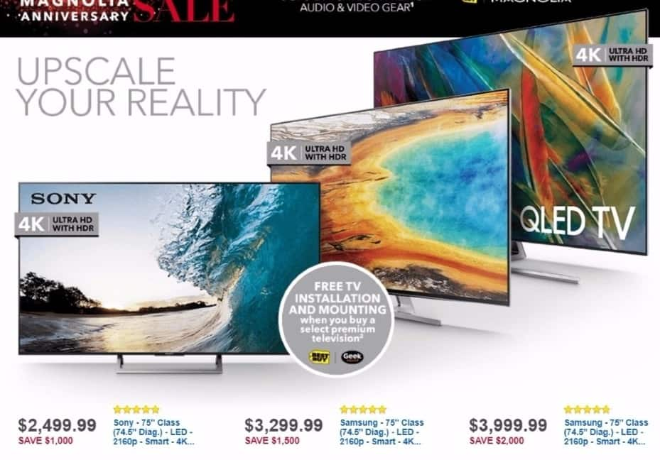 "Best Buy Weekly Ad: Sony 75"" Class LED 4K Ultra HD Smart TV with High Dynamic Range for $2,499.99"