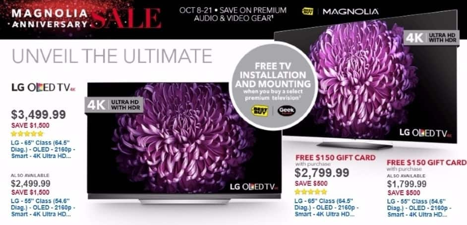 "Best Buy Weekly Ad: LG 55"" Class OLED 4K Ultra HD Smart TV with High Dynamic Range for $2,499.99"